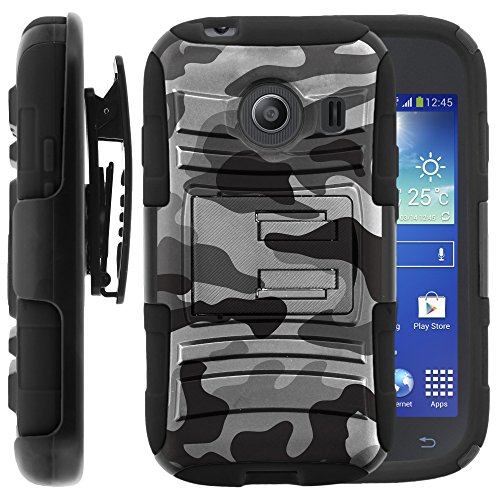 Samsung Galaxy Ace Style Case, Samsung Galaxy Ace Style Holster, Two Layer Hybrid Armor Hard Cover with Built in Kickstand for Samsung Galaxy Ace Style S765C SM-G310 from MINITURTLE | Includes Screen Protector - Winter Gray Camouflage