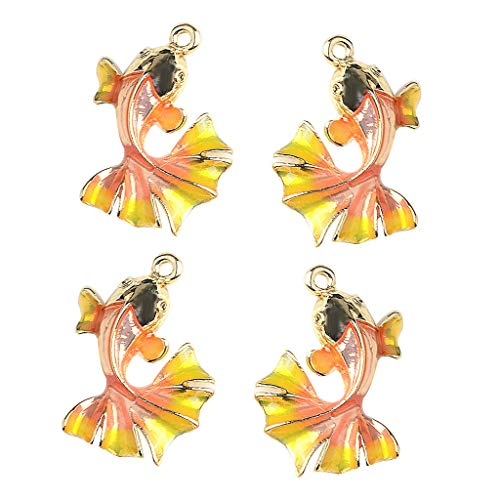 Baosity 4pcs Fashion Earring DIY Accessory Golden Fish Enamel Charms Jewelry Making Findings Sewing Crafts Garment Decors -