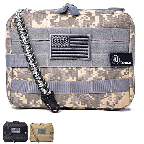 KD Tactical Elite Molle Admin Pouch | Military Grade EDC Utility Bag and Vest Attachment | Water-Resistant Modular Zipper Multi-Purpose Layout | Organize EMT Medic Tool Hiking Airsoft (Camo ACU) ()