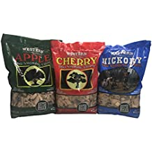 Popular Western BBQ Smoking Wood Chip Variety Pack Bundle (3) - Popular Flavors - Apple & Hickory, with Cherry