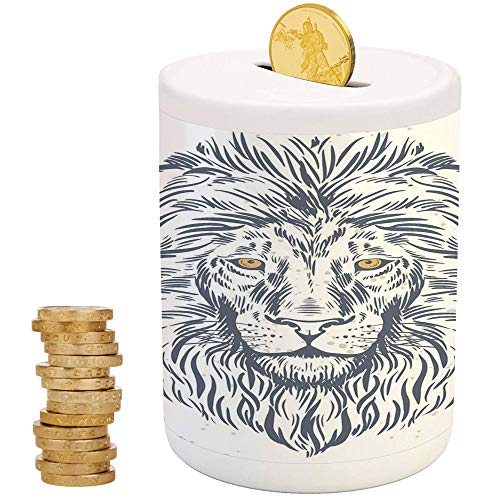 Animal,Piggy Bank Coin Bank Money Bank,Printed Ceramic Coin Bank Money Box for Cash Saving,Forest Kind Lion Portrait Astrology African Wildlife Creature Illustration ()