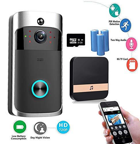 Sonnette Vidéo sans Fil, OXOQO Smart Sonnette 720P HD WiFi Caméra de Sécurité 8G TF, avec Carillon et Batterie, Vidéo en Temps Réel, Vision Nocturne pour Android et iOS (S1) Vidéo en Temps Réel