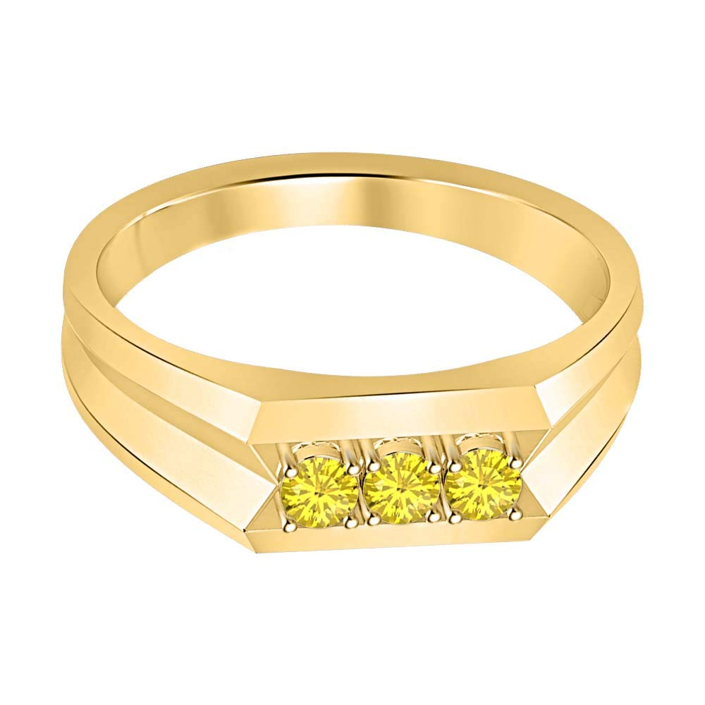 RUDRAFASHION 14k Yellow Gold Plated Round Cut Yellow Sapphire 925 Sterling Silver Mens Anniversary Band Ring