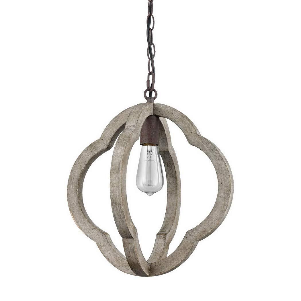CLAXY Vintage Distressed Weathered Wooden Globe Pendant Light Rustic Iron Hanging Light Fixture Ecopower lighting