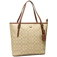 Coach Peyton Signature Zip Top Tote in Khaki & Saddle