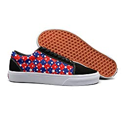 Pdaqs Happy 4th Of July American Flag Patriotic Red Women Canvas Shoes Oldskoo Slip On Shoes Low Top