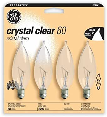 GE 60W Candle Shaped Candelabra Bulb (Pack of 4)