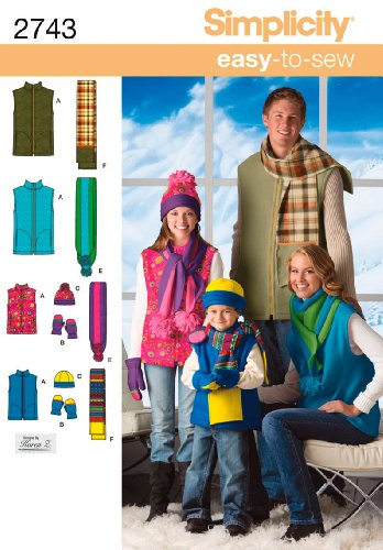 Simplicity Sewing Pattern 2743 Miss/Men/Child Vest, Hat, Scarves and Mittens, A (XS - L / XS - XL)