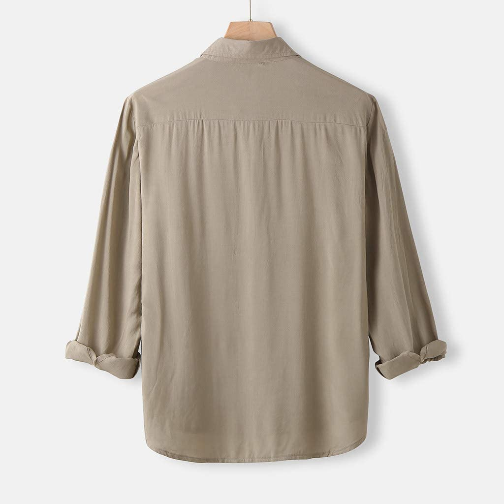 KUNAW Mens Long Sleeve Shirt Mens Fashion Solid Color Lapel Business Or Casual Shirt Tops Blouse