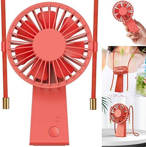 Baozun Ventiladores USB,Mini Ventilador de Mano Portátil con Cuerda para Colgar Puede Girar 90 Grados 3 Velocidades Eléctrico Ventilador Batería Recargable para ...