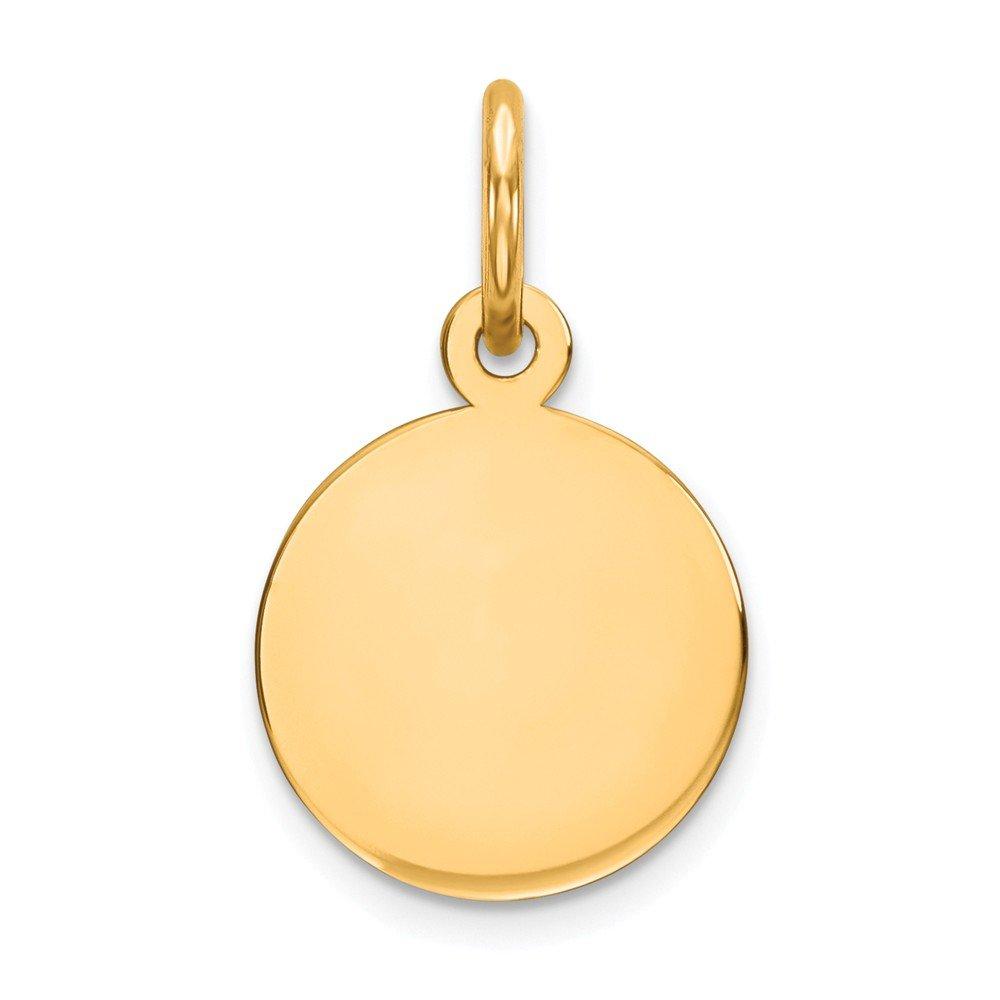 14k Rose Gold Round Engraveable Disc Charm Custom Name Pendant Fashion