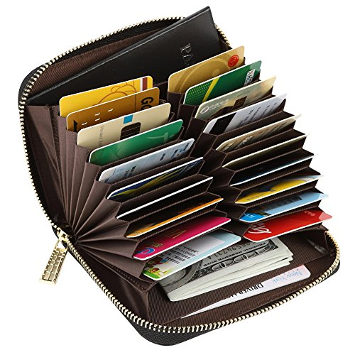 Wallet Purse Accordion (Women's RFID Blocking 20 Slots Card Holder Leather Zipper Compact Accordion Wallet,Black)
