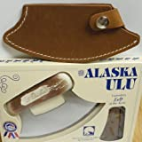 "7"" Cultured Moose Antler Handled Ulu with Leather Sheath (Light Brown)"