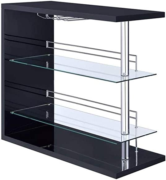 Rectangular 2-shelf Bar Unit with Wine Holder Glossy Black, Chrome and Clear