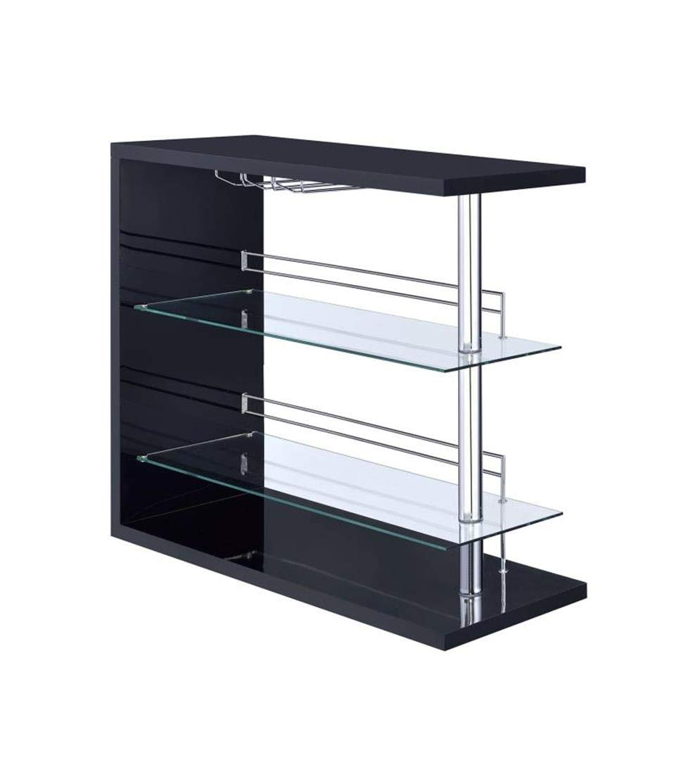 Rectangular 2-shelf Bar Unit with Wine Holder Glossy Black, Chrome and Clear by Coaster Home Furnishings