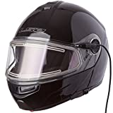 LS2 Helmets Strobe Solid Modular Snow Helmet with Electric face Shield and Sunshield (Black, Medium)