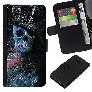 NEECELL GIFT forCITY // Billetera de cuero Caso Cubierta de protección Carcasa / Leather Wallet Case for Samsung Galaxy A3 // Rey Esqueleto