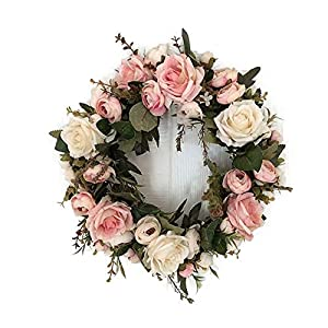 Nesee Artificial Rose Flower Wreath - Door Wreath 13 Inch Fake Rose Spring Wreath for Front Door, Wall, Wedding, Home Décor,Pink 58