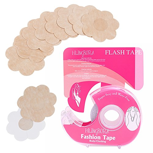 HILINGBORA Fashion Tape Double Sided Flash Tape For Body & Pasties Nipple Covers Disposable(5pairs) 2in1. (Flower nipple covers)