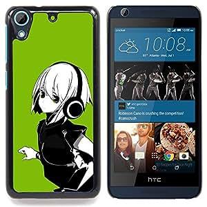 Qstar Arte & diseño plástico duro Fundas Cover Cubre Hard Case Cover para HTC Desire 626 (Anime Girl Capelli bianchi Cuffia)