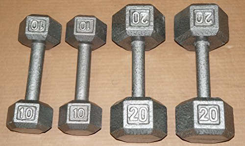TDS - Cast Iron Hex Dumbell Package 10 & 20 lb.- ( one pair each)