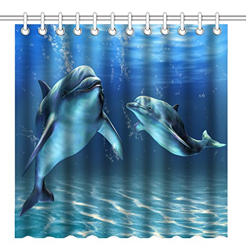 Wknoon 72 x 72 Inch Happy Dolphins Shower Curtain,Waterproof Polyester Fabric Decorative Bathroom Bath Curtains