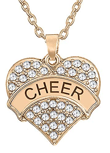 ''Cheer'' Cheerleader Pendant Necklace Jewelry Gifts for Girls and Teens (Rose Gold Tone) ()
