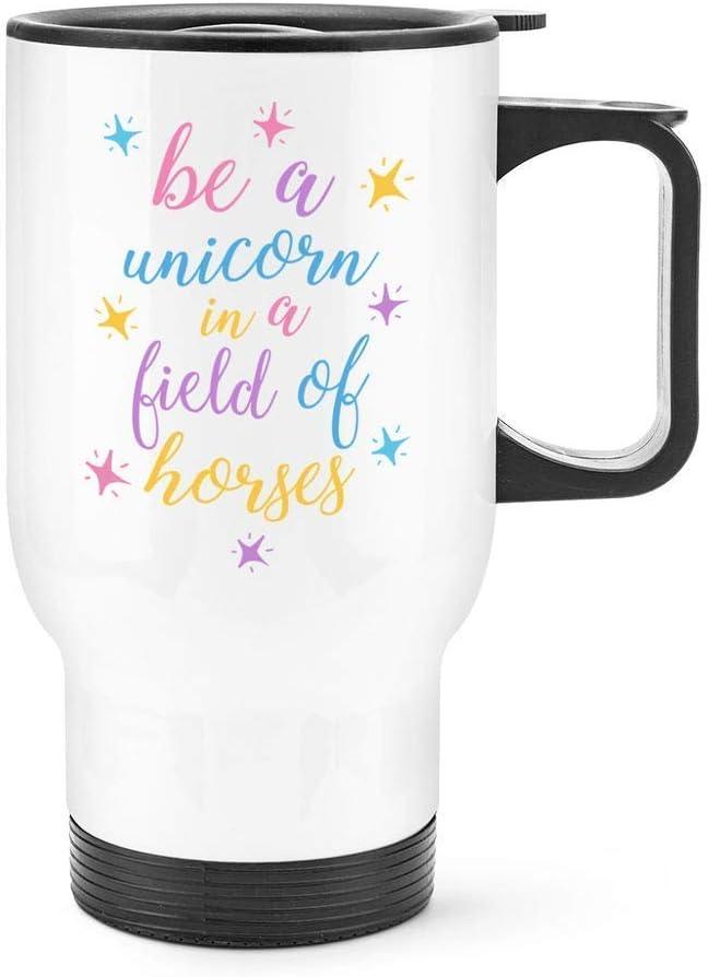 Taza de viaje con aislamiento térmico de acero inoxidable con diseño de unicornio en un campo de caballos Funny Be A Unicorn in A Field of Horses Flask, idea de regalo, 14 oz