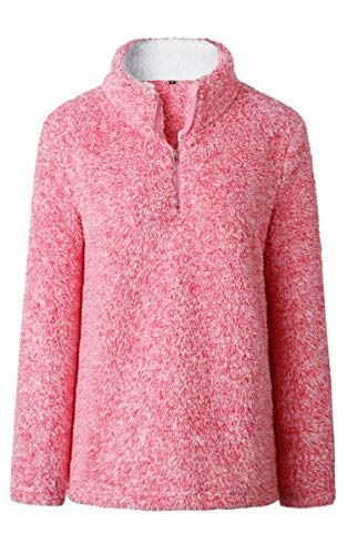 (Angashion Womens Sweatshirt - Long Sleeve 1/4 Zip Up Faux Fleece Pullover Hoodies Coat Tops Outwear with Pocket 174 Red S)