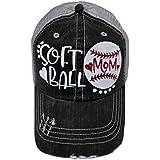 White Glitter Softball Mom Grey Trucker Cap Sports