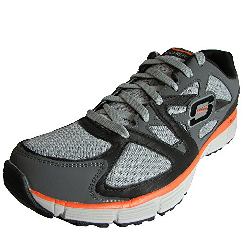 Skechers Mens Agility Ultimate Victory Allacciatura Sneaker Charcoal / Orange