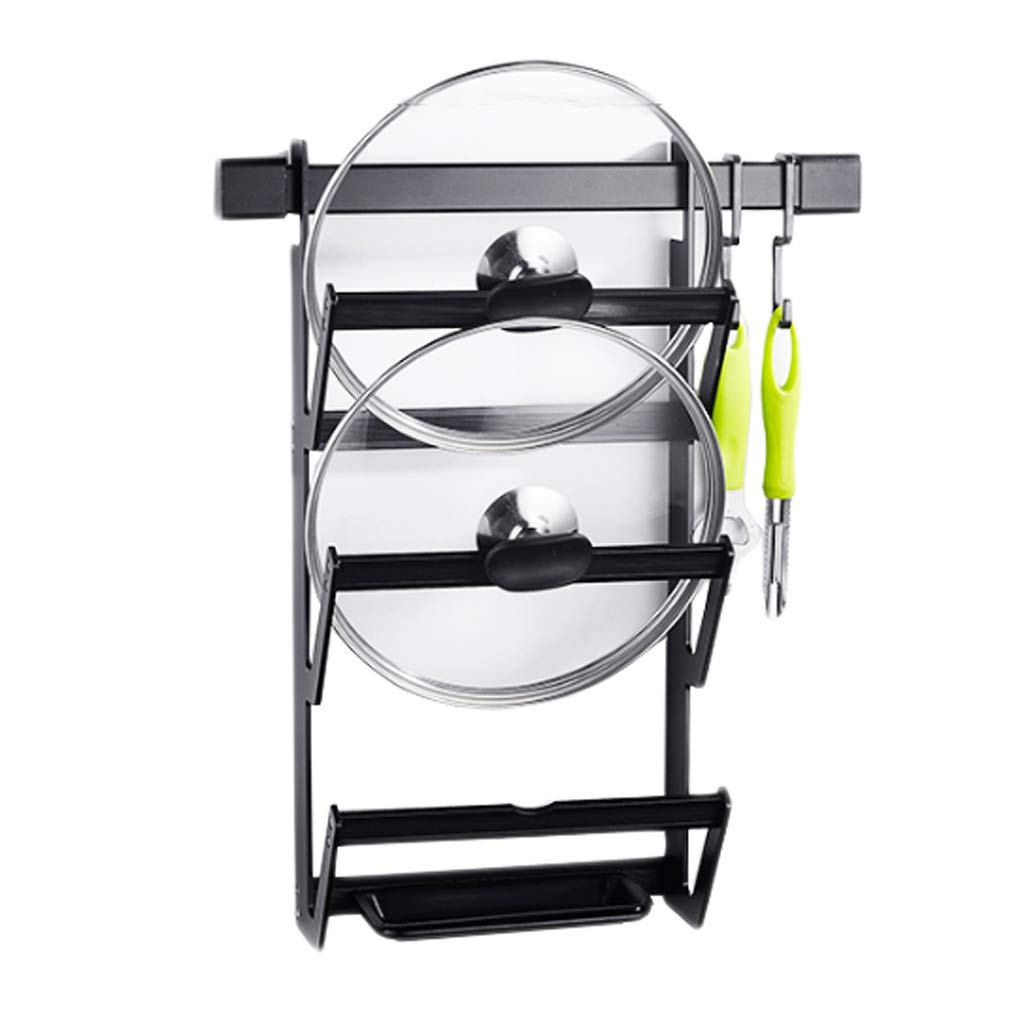 Cover Kitchen Rack Aluminum Drain Black Hook Wall-mounted Multi-function Storage Household Free Punch 24cm*12.5cm*48cm MUMUJIN