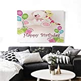"""homehot Kids Birthday Wall Art Canvas Prints Baby Girl Birthday with Teddy Bears Toys Balloons Surprise Boxes Dolls Image Ready to Hang for Home Decorations Wall Decor 36""""x24"""" Light Pink"""