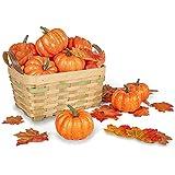 DomeStar Artificial Pumpkins for Decoration, 12PCS Mini Fake Pumpkins with 30PCS Lifelike Maple Leaves, Artificial Vegetables for Halloween Thanksgiving Autumn Ornaments