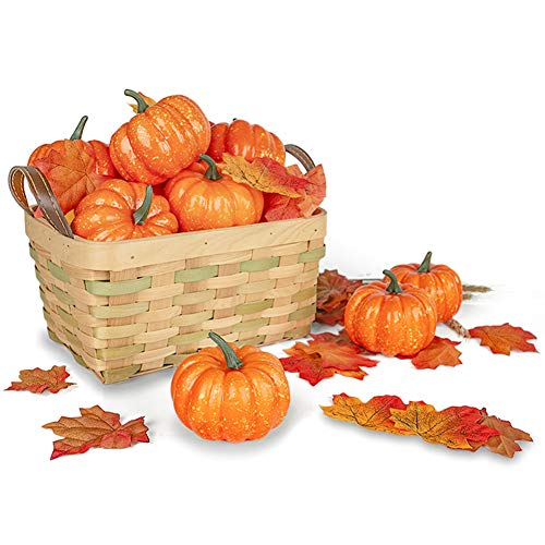 DomeStar Artificial Pumpkins for Decoration, 12PCS Mini Fake Pumpkins with 30PCS Lifelike Maple Leaves, Artificial Vegetables for Halloween Thanksgiving Autumn Ornaments