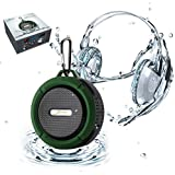 [Waterproof & Dustproof with Great Sound] Original Elivebuy® Wireless Bluetooth 3.0 Outdoor / Shower Speaker, Handsfree Portable Speakerphone with Built-in Mic, Control Buttons and Dedicated Suction Cup for Showers, Bathroom, Pool, Boat, Car, Beach, & Outdoor Use Compatible with Apple Iphone 6,6 plus, 5s, 5, Galaxy S5, S4 S3, HTC One, Galaxy Note 3 2, Mp3 Player - Army Green.