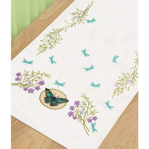 Dimensions 72-73889 Butterfly Meadow Dresser Scarf, Stamped Cross (Butterflies Dresser Scarf)