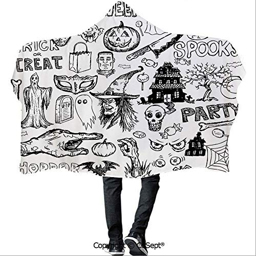 SCOCICI Hooded Blankets,Hand Drawn Halloween Doodle Trick or Treat Knife Party Severed Hand Decorative,Warm Cozy Throw Blanket (59.05x43.30 inch),Black -