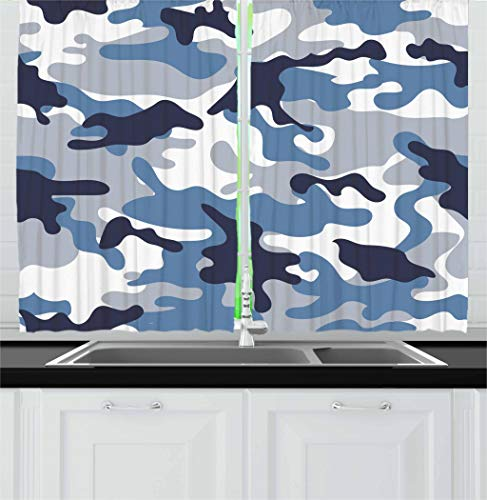 Ambesonne Camouflage Kitchen Curtains, Illustration with Abstract Soft Colors Pattern Camouflage Design, Window Drapes 2 Panel Set for Kitchen Cafe, 55 W X 39 L Inches, Slate Blue Indigo Grey