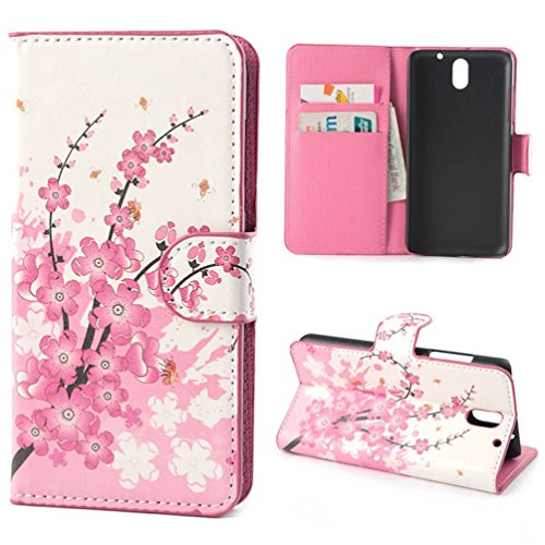 Case for HTC 610,PU Leather Shell Stand Case Cover for HTC Desire 610 Flip Folio Cases Covers with Credit ID Card/Money Slots-Pink flower