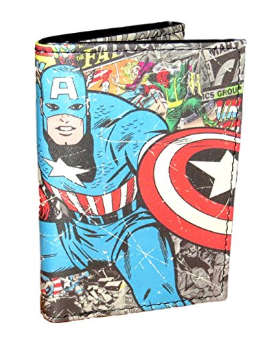 Marvel Comics Character Leather Trifold Wallet with Gift Tin Box (Captain America 03)