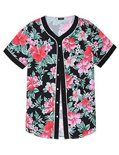 COOFANDY Mens Casual Floral Print Hip Hop Button Down Baseball Jersey Shirts, Pat, Large by COOFANDY