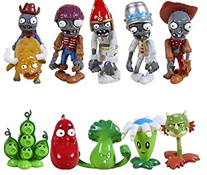 New Arrival 10pcs/lot Plants Vs Zombies PVZ Collection PVC Figures Cowboy Toy And Gifts