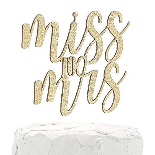 NANASUKO Bachelorette Party Cake Topper - Miss to Mrs - Double Sided Gold Glitter - Premium quality Made in USA (Purdue Cake Topper)