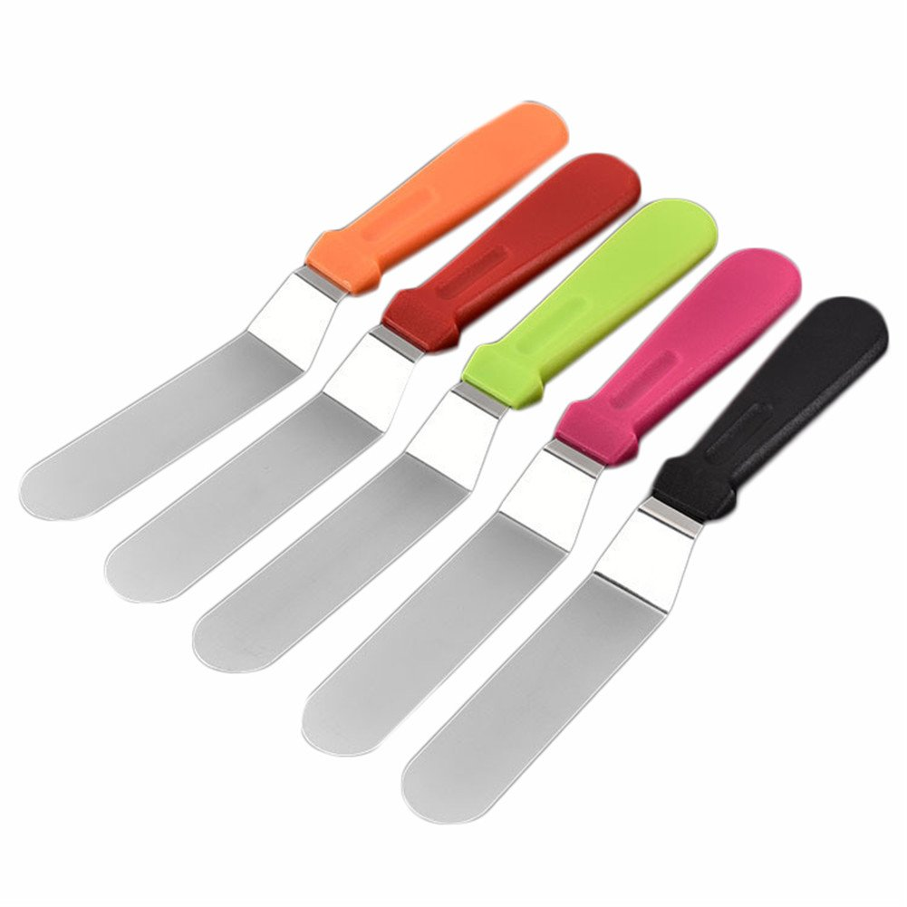 BEIGU Straight Icing Spatula Angled Cake Spatulas Baking and Cake Decorating Supplies For Home, Kitchen or Bakery,Set of 5