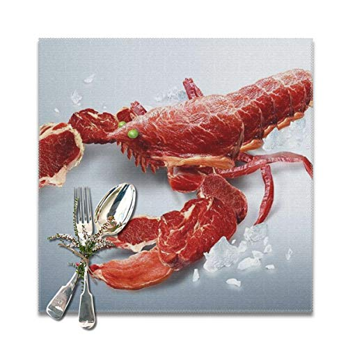 BUN Placemats Square Set of 6 for Dining Room Kitchen Table Decor, Crayfish Lobster Print Table Mats Washable]()