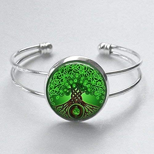 Celtic Tree of Life Cuff Bracelet Handmade Silver Plated Jewelry