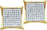 Unisex 10K Yellow Gold Pave Genuine Diamond Kite Hip-Hop Stud Earrings 1/10 CT (I2-I3 clarity; G-H color)