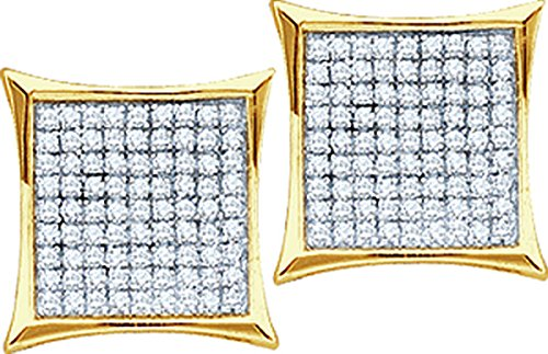 Unisex 10K Yellow Gold Pave Genuine Diamond Kite Hip-Hop Stud Earrings 1/10 CT (I2-I3 clarity; G-H color) by Jewels By Lux