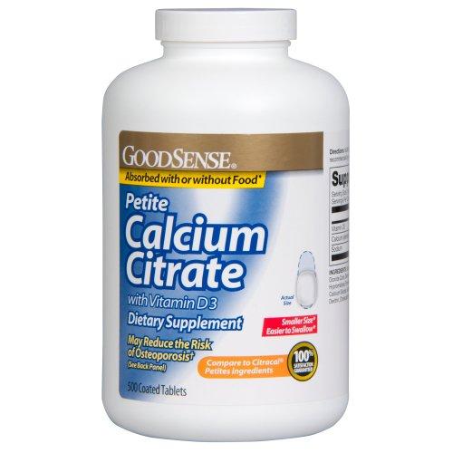 Sens de calcium Petite Citrate de vitamine D3, 500 comte